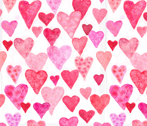 Watercolor Hearts -Large Scale fabric by artfully_minded on Spoonflower - custom fabric