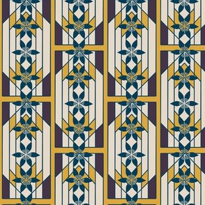 Art Deco Style Windowpane with Geometric Flower Stripes in Indigo Blue, Gold, and Khaki