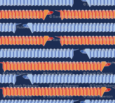 Origami Dachshund Chevron-Blue/Orange