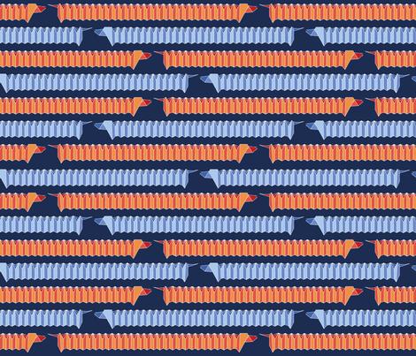Origami Dachshund Chevron-Blue/Orange fabric by sarahjean on Spoonflower - custom fabric