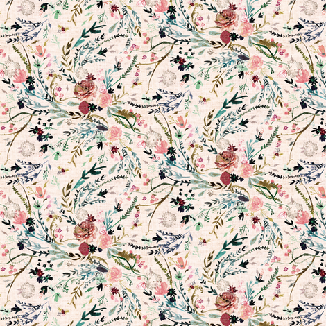 Fable Floral (MICRO) (blush) fabric by nouveau_bohemian on Spoonflower - custom fabric
