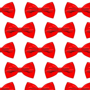 Red Bow Ties on a White Background