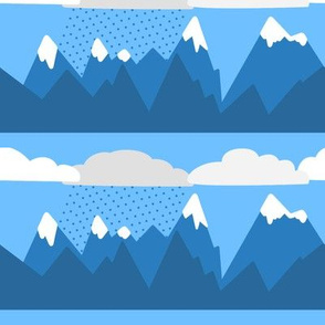 Cartoon Striped Snowy Mountain Range with Clouds - Smooth Look