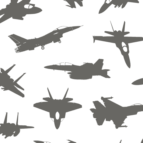 Grey Fighter Jets // Large fabric by thinlinetextiles on Spoonflower - custom fabric
