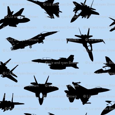 Fighter Jets on Blue // Large