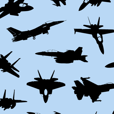 Fighter Jets on Blue // Large fabric by thinlinetextiles on Spoonflower - custom fabric