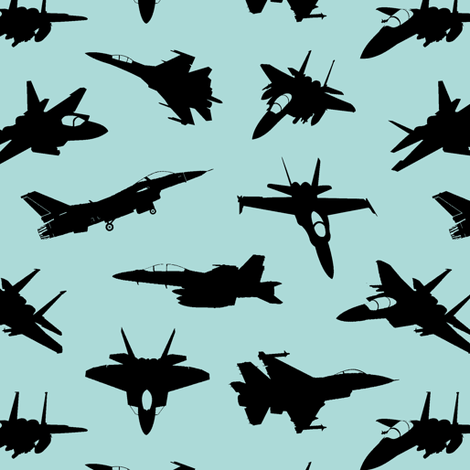 Fighter Jets on Pool // Small fabric by thinlinetextiles on Spoonflower - custom fabric