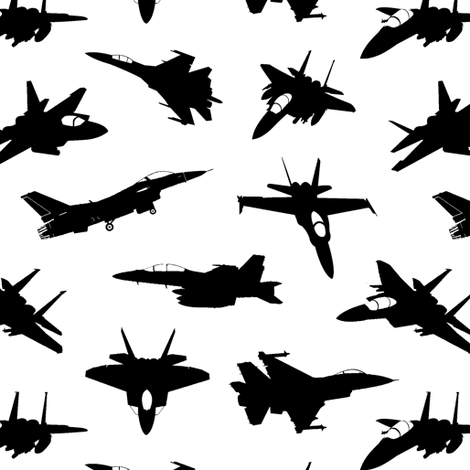 Fighter Jets // Small fabric by thinlinetextiles on Spoonflower - custom fabric