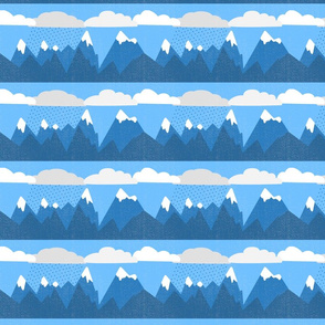 Cartoon Mountain Range with Clouds and Rain - Distressed Look