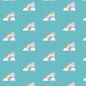 Kawaii Unicorn and a Rainbow