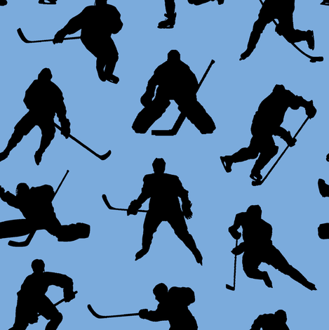 Hockey Players on Ice Blue // Small fabric by thinlinetextiles on Spoonflower - custom fabric