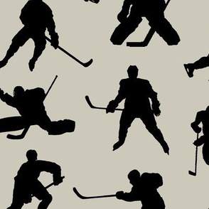 Hockey Players on Light Taupe // Large