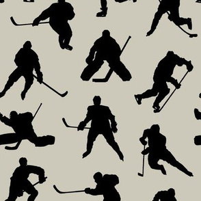 Hockey Players on Light Taupe // Small