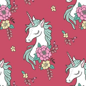 Dreamy Unicorn & Vintage Boho Flowers on Coral Red