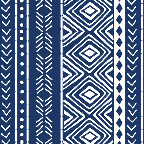 Navy Mud Cloth // Small fabric by thinlinetextiles on Spoonflower - custom fabric