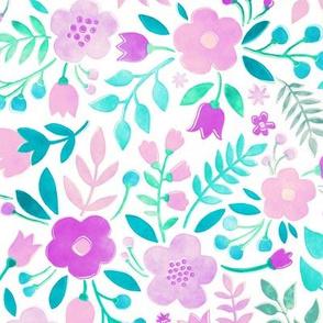 Watercolour Floral Doodle Purple Pink
