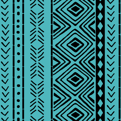 Turquoise Mud Cloth // Small fabric by thinlinetextiles on Spoonflower - custom fabric