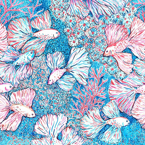 Bettafishes in coral reef, Malibu inspired watercolor