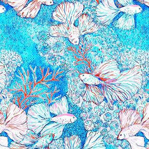 Malibu print bettafishes in coral reef