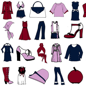 60s fashion navy burgandy lt orchid colored