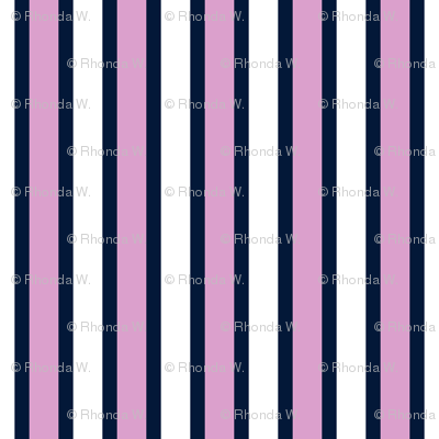 Bonny Vertical Stripes - Narrow Navy Ribbons with Light Orchid and White Bands - Small Scale