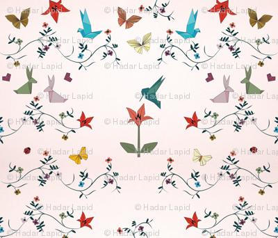 Silky origami garden