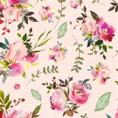 Watercolor Peonies & Roses (pink texture) - Floral Pink Plum Blush Flowers Garden Blooms Baby Girl Nursery B