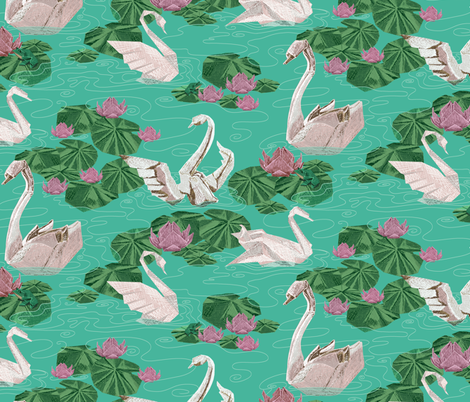 Origami Challenge Swans fabric by house_of_heasman on Spoonflower - custom fabric