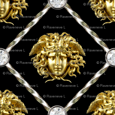 2 diamonds jewels gems trellis interlinked criss cross interconnected connected medusa versace inspired  baroque rococo gold silver black white Greek Greece gorgons mythology