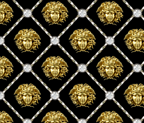 2 diamonds jewels gems trellis interlinked criss cross interconnected connected medusa versace inspired  baroque rococo gold silver black white Greek Greece gorgons mythology      fabric by raveneve on Spoonflower - custom fabric