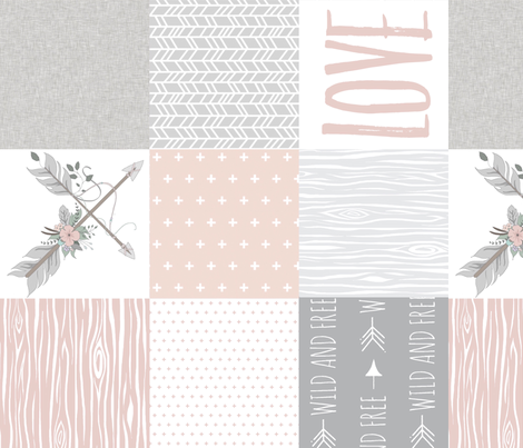 BoHo Love Wholecloth Quilt - rotated fabric by sugarpinedesign on Spoonflower - custom fabric