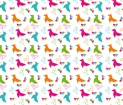 paper bird origami fabric by alandco on Spoonflower - custom fabric