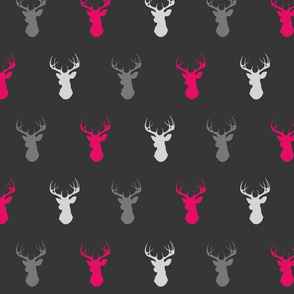 Deer - Fuchsia, Grey, Silver on Black