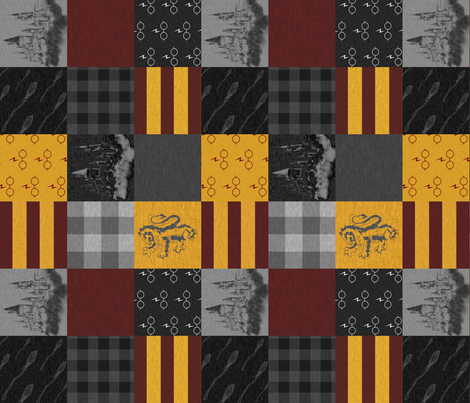 """3"""" witches and wizards - Gold And Burgandy fabric by sugarpinedesign on Spoonflower - custom fabric"""