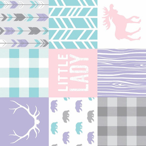 Little Lady Wholecloth Quilt - lilac, pink, aqua and grey - soft and sweet woodland