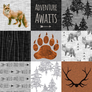 Gender Neutral Adventure Awaits Fox Quilt - Rust, Black And Grey