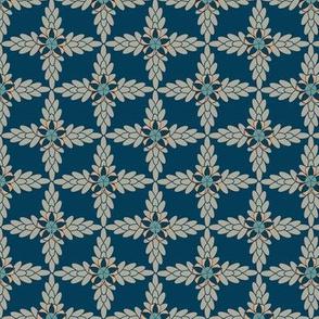 Floral Diamond Lattice Print of Blue and Orange Flowers