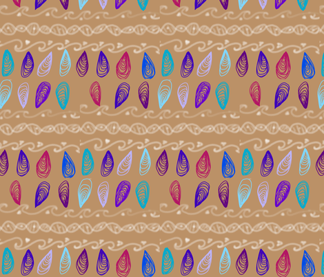 Coffee with foam and shells fabric by cake_g on Spoonflower - custom fabric
