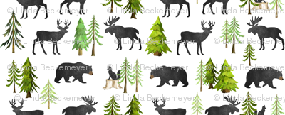 Home in the Forest - Woodland Animals Bear Moose Deer Pine Trees Baby Nursery Bedding GingerLous