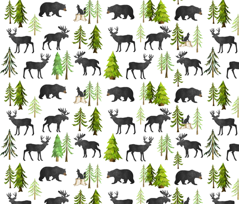 Home in the Forest - Woodland Animals Bear Moose Deer Pine Trees Baby Nursery Bedding GingerLous fabric by gingerlous on Spoonflower - custom fabric