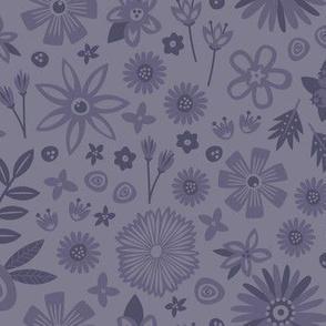 Floral Party Dress (Monochome)