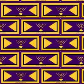 Golden Menorah purple and gold 4x8