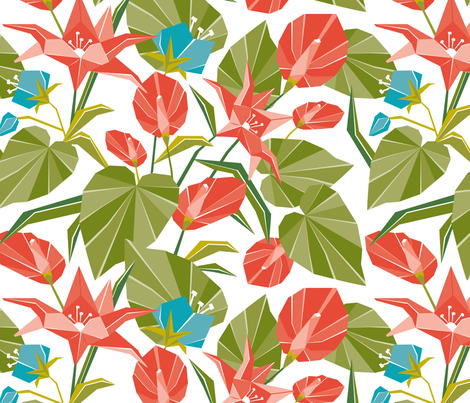 Origami Garden - Floral fabric by heatherdutton on Spoonflower - custom fabric
