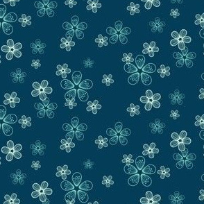 Flower Print, Teal and Indigo Blue Apple Blossoms