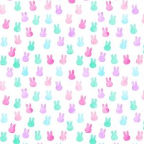 small bunnies in multi - pink, purple, teal