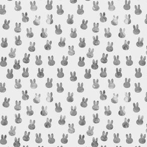 small bunnies in grey on light grey