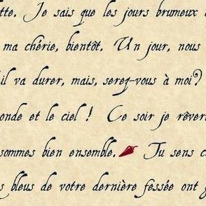 lettre d'amour griffonnage marine burgundy parchemin