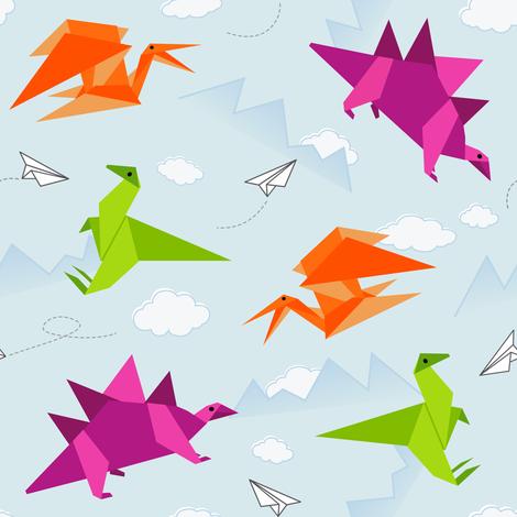 Origami Dinosaur Fun fabric by vintage_style on Spoonflower - custom fabric