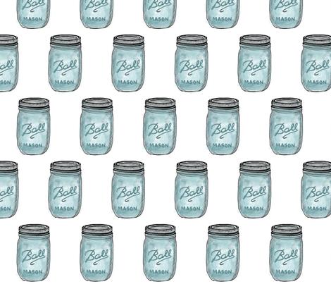 Mason Jar, Ball Mason Jar Blue, Vintage fabric by ireneireneart on Spoonflower - custom fabric