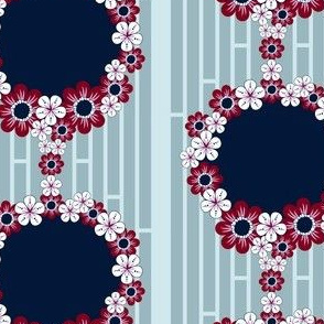 Flower Borders in Navy and Burgundy, Flower Garland Rings on Lattice Stripes